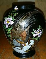 Vintage Asian Black Vase With Gold Accents & Floral/Pheasants. Made In Japan.