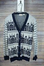 Vintage 60's Catalina Jacquard Cityscape Churches Cardigan Sweater Acrylic/Wool