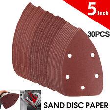 "30Pcs 5"" 60/80/120 Grit Mouse Sanding Sheet Discs Triangle Grinder Paper Pad"