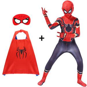 Boys Mens Spider-Man Homecoming Cosplay Costume Cloak Mask Superhero Jumpsuit