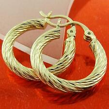 EARRINGS HOOPS GENUINE REAL 18K YELLOW G/F GOLD LADIES ITALIAN TWIST DESIGN
