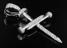 White Gold Finish Sterling Silver Simulated Diamond Nail Cross Pendant 1.4 Inch