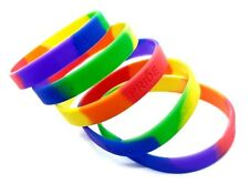 Pride Embossed X 5 Rainbow LGBT Silicone Gay Lesbian Wristband Bracelet Pride
