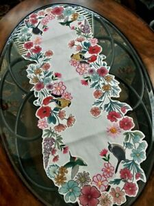 """Spring Decor Table Runner 13""""x36"""" Floral Applique Embroidered Centerpiece"""