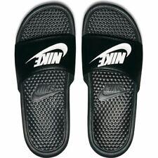 Men's Nike Benassi Flip Flops Beach Sandals Sliders  Black/White