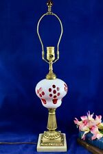 Antique White Overlay Cut To Cranberry Coin Dot Converted Oil Lamp Marble Base
