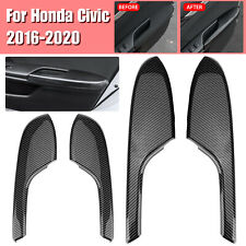 4x Carbon Fiber Interior Door Armrest Panel Trim Cover For Honda Civic 2016-2020