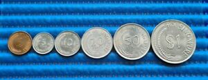 1971 Singapore Coin Set ( 1, 5, 10, 20, 50 Cents & $1 Coins )