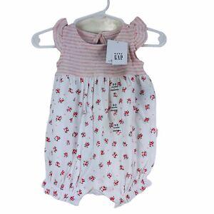 NEW Baby Gap One Piece Pink White Girls Sleeveless Floral 0-6 Months Newborn