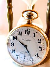 HAMILTON POCKET WATCH RAILROAD POCKET WATCH GOLD FILLED 1914