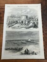 1866 the illustrated london news print - epsom race & northumberland launch