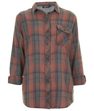 Topshop Red & Blue Check Oversized Shirt Pocket Plaid Top 6 8 10 12 14 16