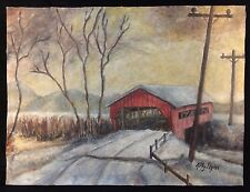 Unframed Painting by Kathy Flynn, Covered Bridge in Winter, Countryside East USA