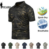 Mens Tactical Combat T-Shirt Military Short Sleeve Army Casual Shirt Camouflage