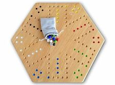 "Large Oak Wood Hand-Painted 24"" Aggravation Board Game, Double-Sided"