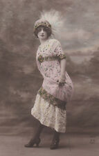 Flirtatious Edwardian Lady Original Antique Photo Postcard