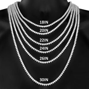 Men's Iced 3 Prong 1 Row 14K White Gold Finish Tennis Necklace Set of 2 Chains