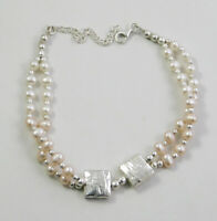 """Natural Gemstone Pearl Bracelet 7.25+2"""" Solid 925 Sterling Silver jewelry MB1726"""