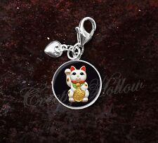 925 Sterling Silver Charm Maneki Neko Cat Kitty Beckoning Cat Luck