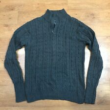 Gant Jumper Half Button Cable Knit Grey 2XL