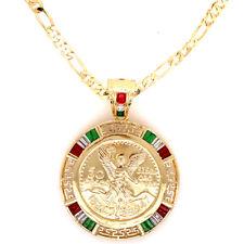 50 Pesos Gold Plated 1821-1947 Mexican Flag Centenario Coin Laminado 26'' Chain