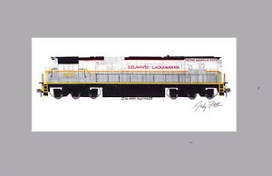 "Delaware-Lackawanna C636 #3642 11""x17"" Matted Print Andy Fletcher signed"