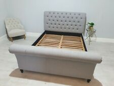 Feather and Black King Size Henrietta Sleigh bed GreyWool RRP£2550 FREE DELIVERY