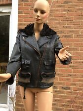 Acne pebbled leather STAR jacket with shearling hood, size 40, fits UK12