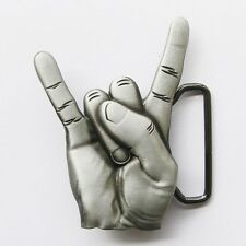 NEW HAND LOVE PEACE SIGN HORN ROCK MUSIC BELT BUCKLE