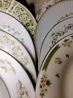 8 Vintage Mismatched China Dinner Plates Green Floral Wedding Boho # 145