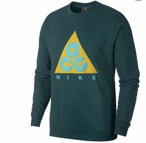 Nike ACG Sportswear Crew Sweater Dark Atomic Teal Yellow AR8796-375 Brand New
