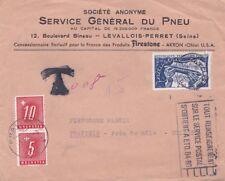 Francia 1951 cubierta de Levallois-Unidad a Swizerland mal pagados y Gravado