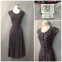 Laura Ashley Navy Blue Floral Sleeveless Cotton Wool Dress UK 16 EUR 42 US 12