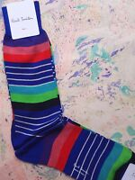 Paul Smith Mens Italian Socks Kel Stripe Blue Multicolour K663 1-Size Cotton Mix