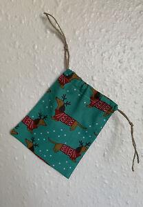 Sausage Dog Dachshund Pattern Handmade Drawstring Christmas Gift Bag