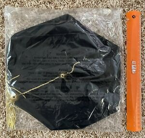 Black Academic Doctoral Tam with Six Sides, Gold Tassel - NEW in Package!