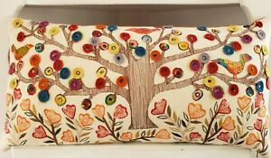 Tree Of Life Accent Pillow Embroidered Cotton Linen Birds Flowers Ivory Orange