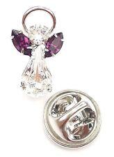 Elements Birthstone Guardian Angel Pin February Amethyst with Swarovski Crystal
