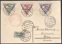 LATVIA 1932 Avia Card from Riga to Switzerland with stamps Mi 190-2B