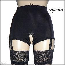 NYLONZ Vintage Style Crotchless / Open 6 Strap Smooth Girdle - Black