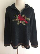 ORVIS Mock Turtleneck 1/4-Zip Sweater Gray Heather w/Red Cardinal Sz M NWOT!