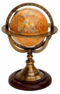 "11"" Antique Brass Globe World Map Nautical Desk Decor Astrolabe Armillary Spher"