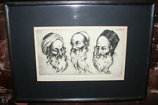 JUDAICA ART JACOB EISENBERG SIGNED / NUMBERED LITHO  3 JEWISH PORTRAITS BEZALEL