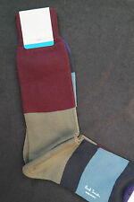 Paul Smith Mens Mid Length Italian Socks Cotton Cashmere Mix Block F876 One Size