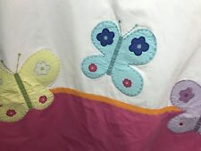 Pottery Barn Kids Butterfly Shower Curtain EXCELLENT pink appliquéd EUC