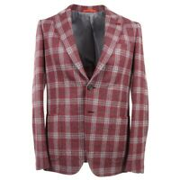 NWT $3490 ISAIA Trim-Fit Raspberry Pink Check Soft Wool Sport Coat US 44 R