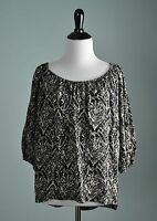 JOIE NWT $128 100% Silk Elastic Collar Airy Damask Print Blouse Top Size XS