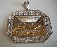 ICED OUT GOLD/SILVER FINISH LAST SUPPER JESUS PIECE FASHION HEAVY  PENDANT
