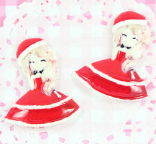 4 x Mary Christmas sweet lolita girl Flatback Cabochons Kawaii Crafts Decoden