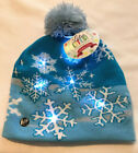 Christmas Stocking Hat Beanie SNOWFLAKE LIGHTS UP Ugly Sweater BLUE NEW